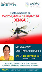 A talk on Management and Prevention of Dengue on Saturday 9th December at 10am