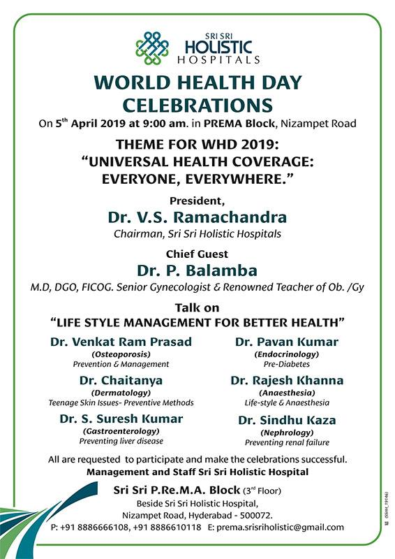 Chief guest Dr.P.Balamba lightning the ceremonial lamp at the world health Day celebrations held at Sri Sri Holistic Hospitals Prema Block on 5th April 2019.